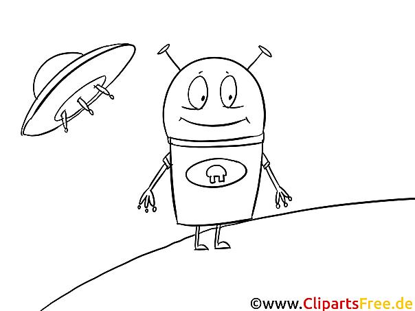 Cartoon Alien Bild zum Ausmalen