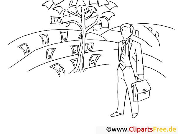 Baum mit Geldscheinen Bild zum Ausmalen