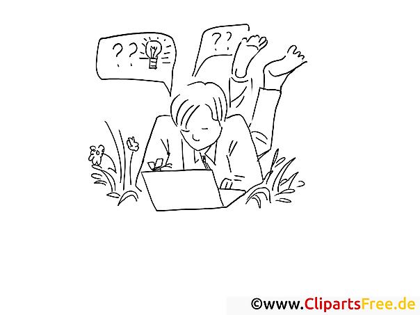 Junger Mann mit Laptop Bilder online zum Drucken und Ausmalen