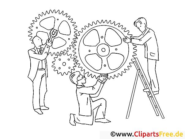 Männer mit Zahnräder Zusammenarbeit - Schwarz-weiss Clipart-Bilder zum Drucken