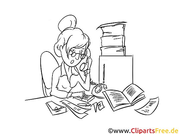 Malbild Sekretärin am Schreibtisch, Arbeitsplatz