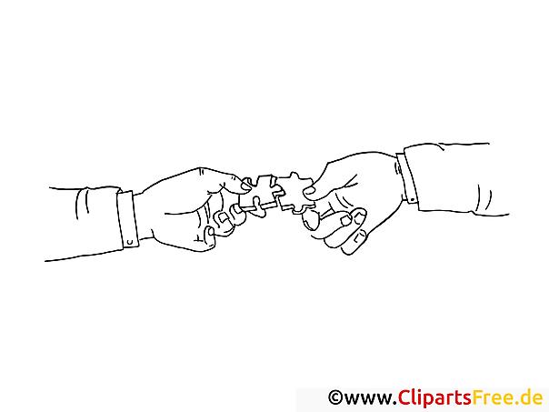 Zwei Hände mit Puzzle Bild zum Drucken und Malen