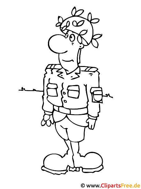 Malvorlage kostenlos Soldat
