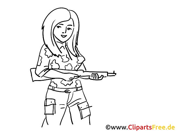 Maschinenpistole Frau Militär Malvorlagen
