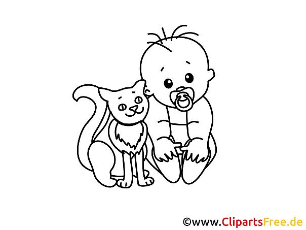 Gratis Ausmalbild Junge Baby mit Hauskatze