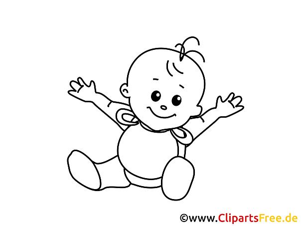 Kostenloses Ausmalbild Baby lächelt