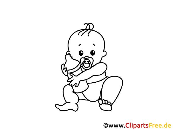 Kostenloses Ausmalbild Baby mit Milchflasche