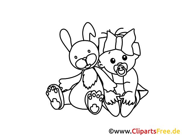 Lustige Malvorlage Hase und Baby zu Ostern