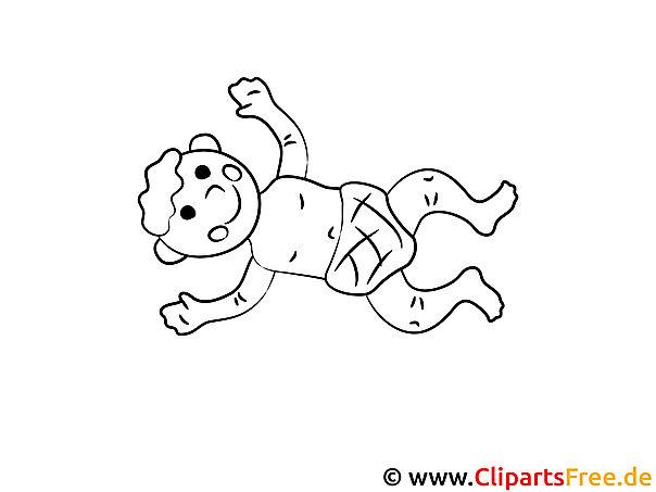 Mal-Vorlage Baby froh
