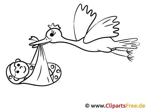 Mal-Vorlage Storch und Kind