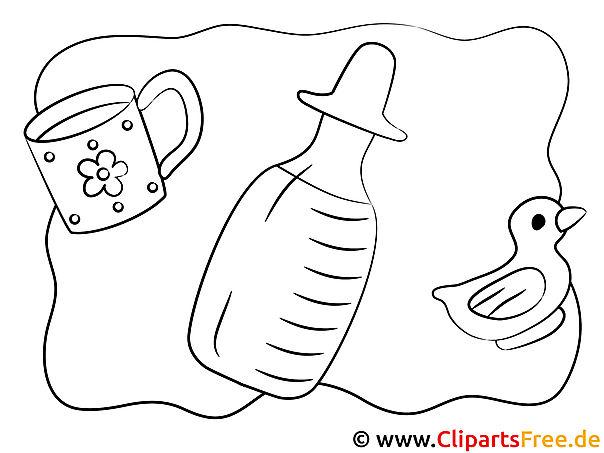 Milchflasche Bild zum Drucken und Ausmalen