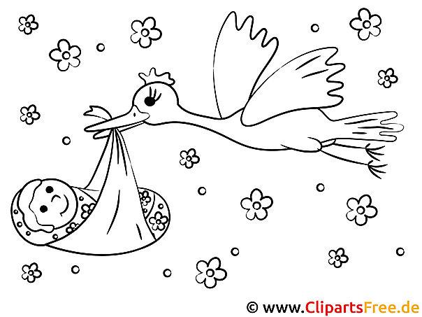 Storch mit Baby Bild zum Ausmalen