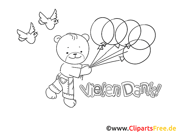 Bär mit Luftballons Ausmalbild Danke sagen