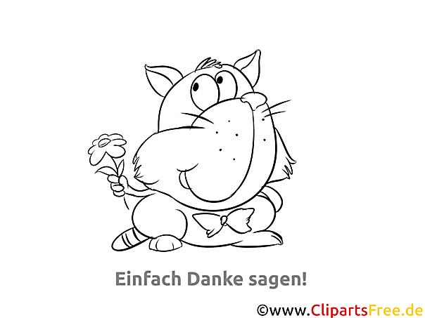 Blume Katze kostenlose Malvorlage Danke