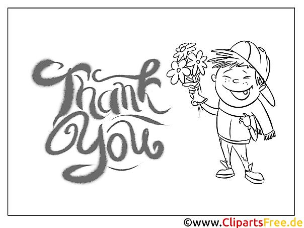 Blumen Junge Kostenlose Dankeskarten zum Ausdrucken und Ausmalen