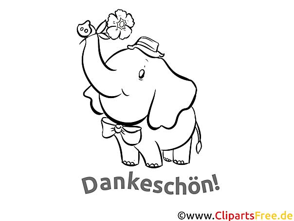 Elefant Ausmalbilder Dankworte zum Drucken