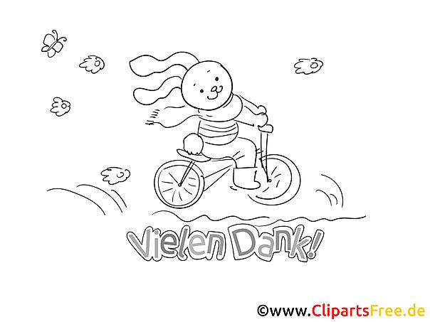 Fahrrad Hare kostenlose Dankeskarte zum Ausdrucken