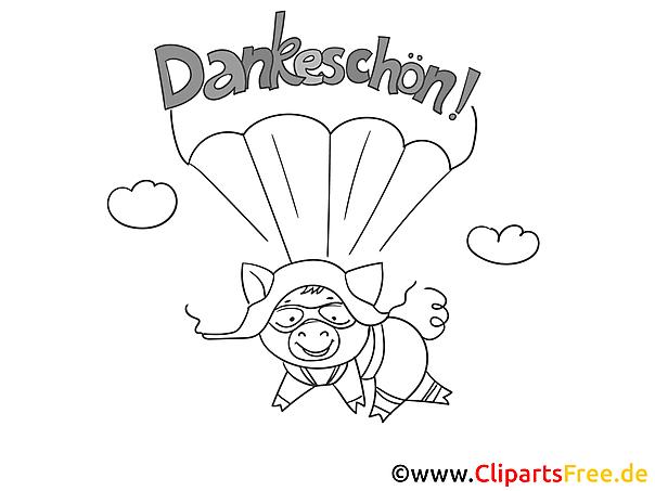 Fallschirm Dankeskarte selber drucken
