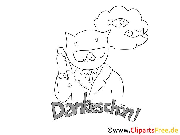 Fisch Katze kostenlose Dankeskarte zum Ausdrucken