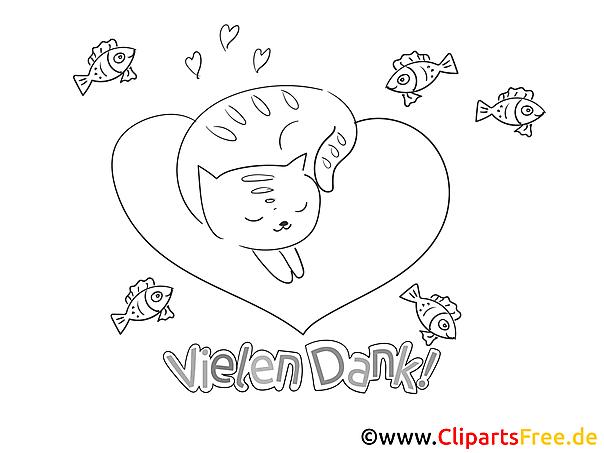 Herz Katze Ausmalbilder zum Thema Danke