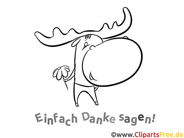 Hirsch kostenlose Malvorlage Danke