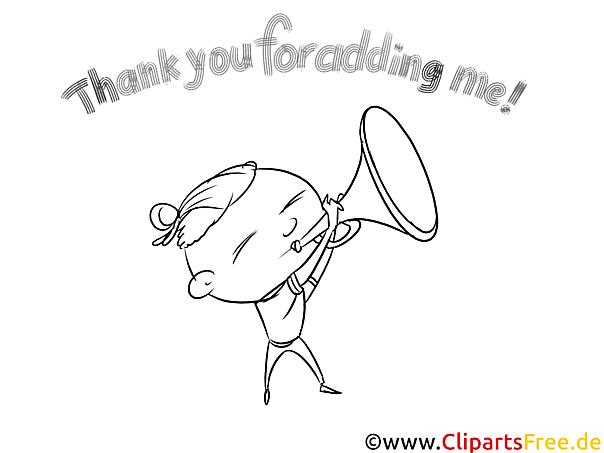 Junge mit Trompete Bild schwarz-weiß zum Drucken, Ausmalen