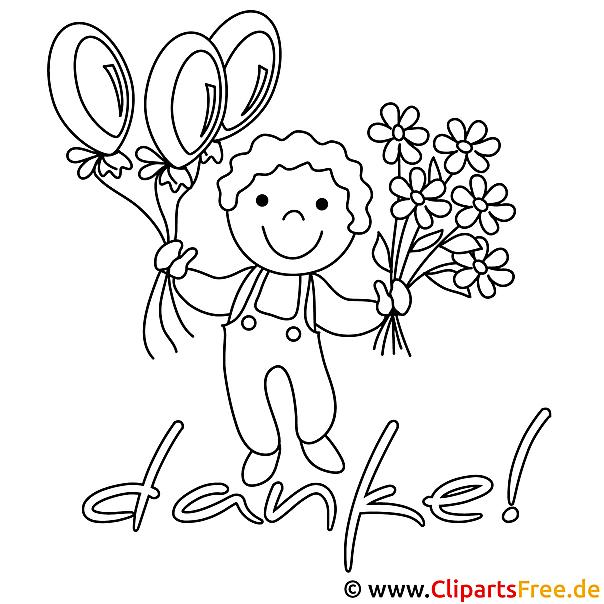 Kinder-Malvorlagen zum Drucken - Junge mit Luftballons