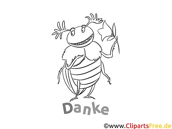 Kostenlose Dankeskarte Käfer zum Ausdrucken und Ausmalen