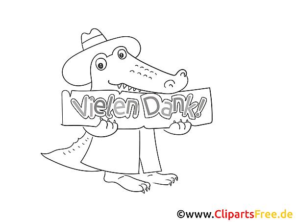 Krokodil Ausmalbild Danke sagen