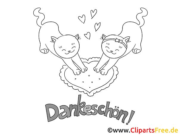 Liebe Katzen lustige Danke Bilder zum Ausmalen
