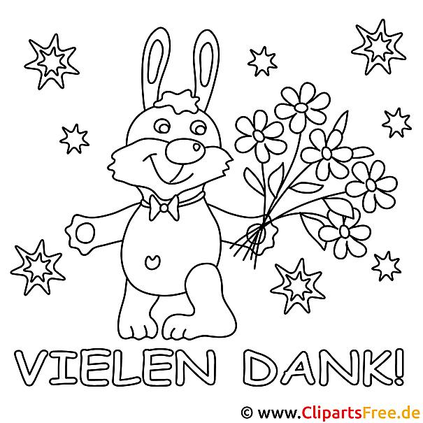Malvorlage zum Ausdrucken Hase mit Blumenstrauss