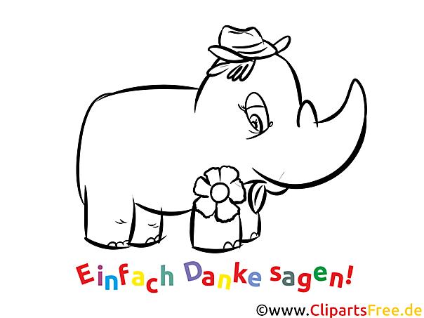 Nashorn Kostenlose Dankeskarten Zum Ausdrucken Und Ausmalen