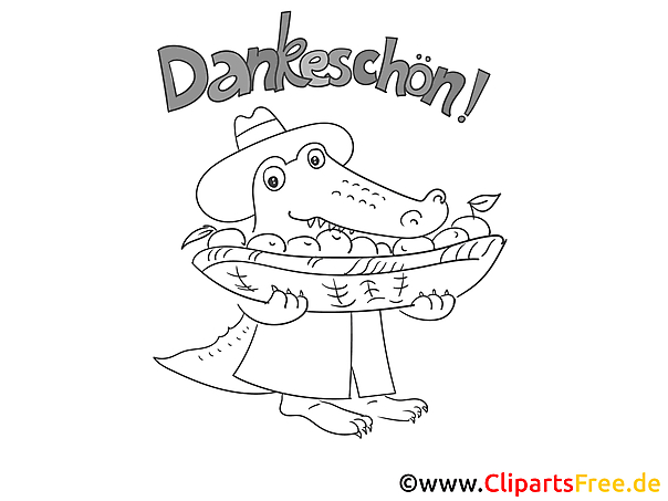 Obst Krokodil Ausmalbild Danke sagen