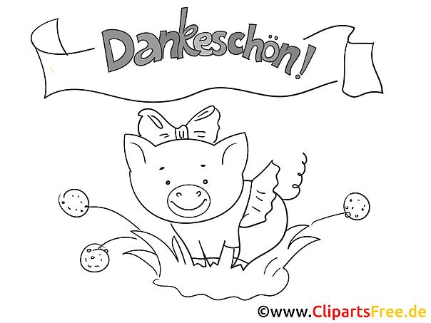 Schweinchen Dankeskarte selber drucken