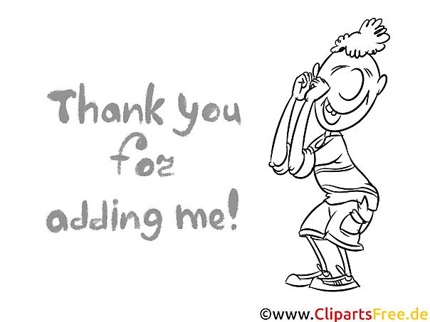 Thank You Bild schwarz-weiß zum Drucken, Ausmalen