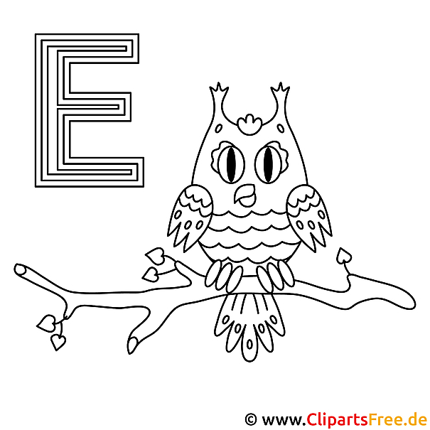 Eule Malvorlage - Buchstaben lernen