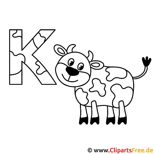 Kuh Ausmalbild Vorlage Buchstaben