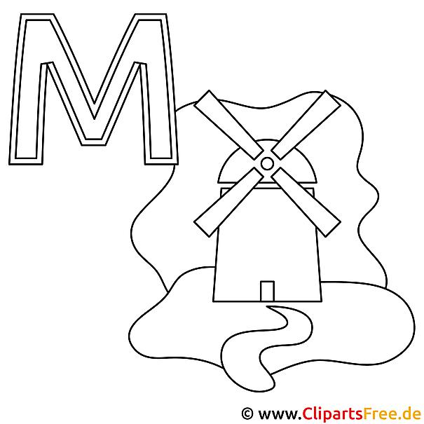 Muehle Ausmalbild - Buchstaben Vorlagen zum Basteln