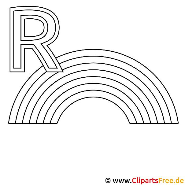 Regenbogen Ausmalbild - Buchstaben zum Ausmalen