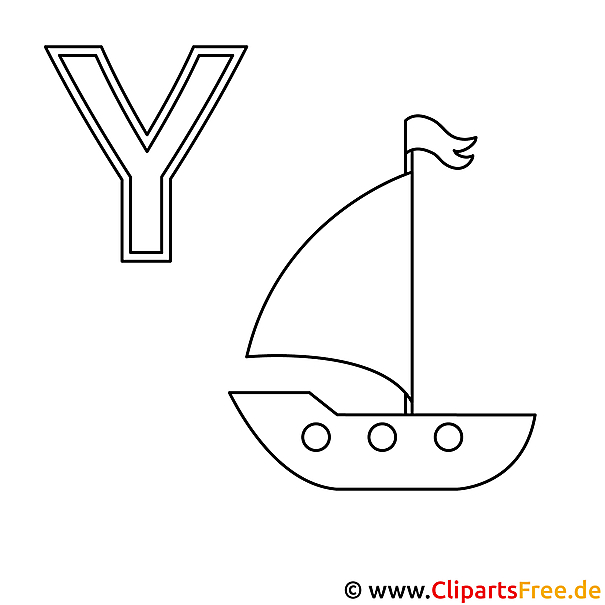 Yacht Ausmalbild - ABC Bilder