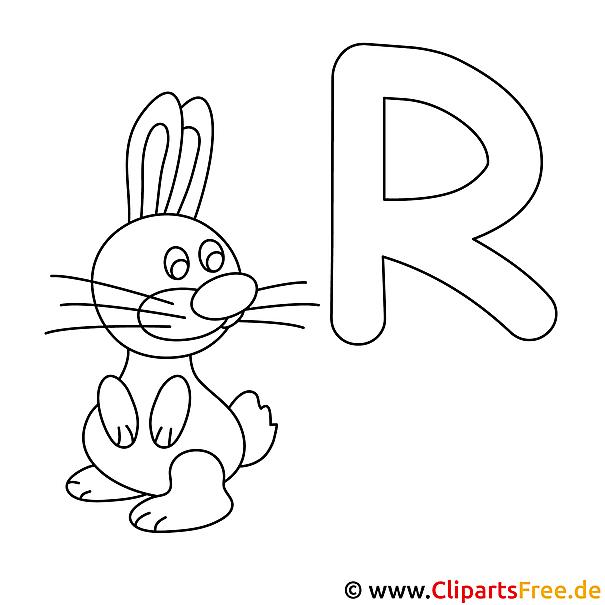 Rabbit - Buchstaben zum Ausmalen
