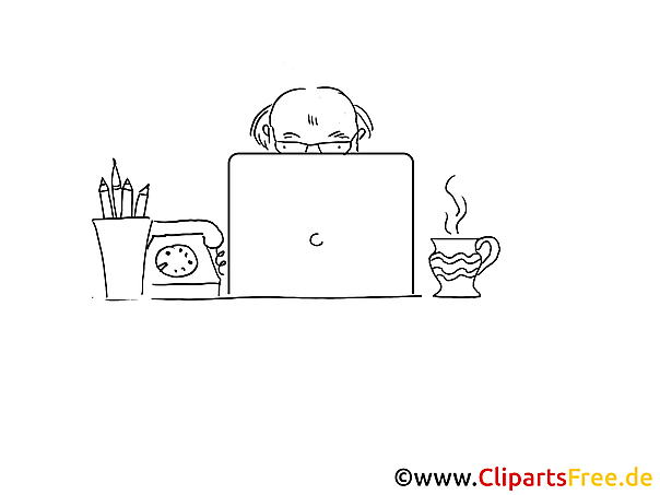 Arbeit am PC Ausmalbild