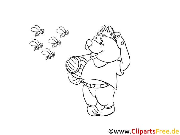 Bär und Bienen Malvorlagen kostenlos