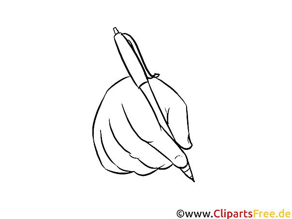 Malbild-Ausmalvorlage Hand schreibt
