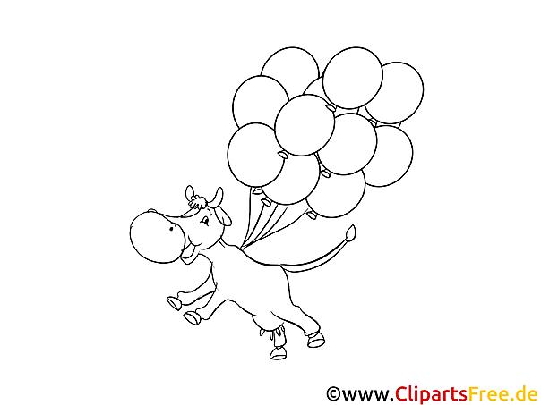 Malvorlage Kuh fliegt mit Luftballons