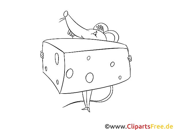 Maus und Käsestück Malvorlage kostenlos