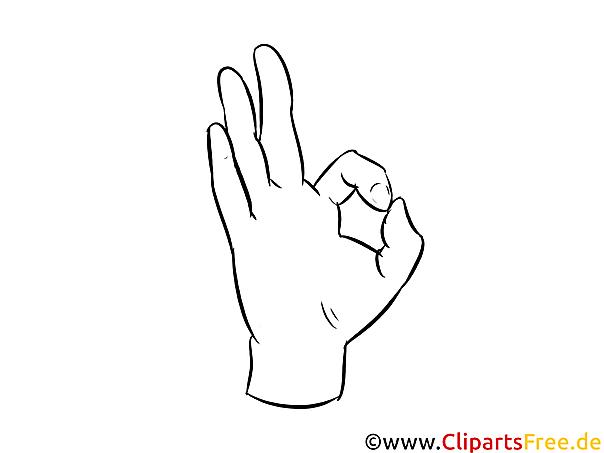 OK Hand Bild zum Malen