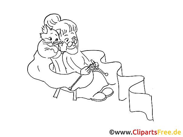 Oma mit Katze Bild zum Malen