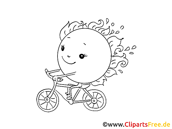 Sonne fährt Fahrrad Malvorlage kostenlos