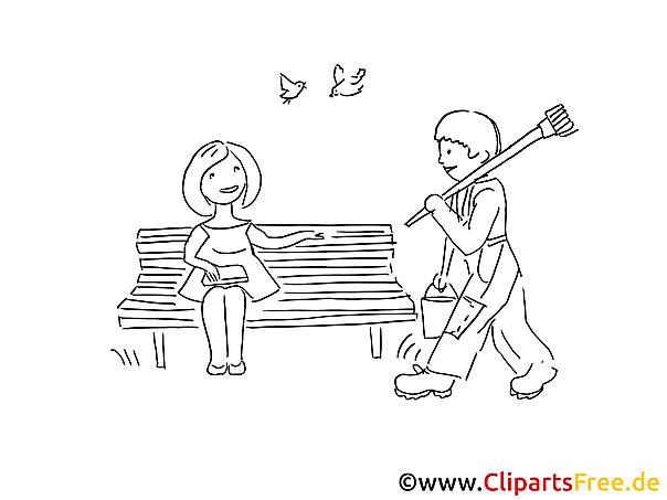 Treffen im Park Bild zum Ausmalen